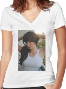 White Vest 7 Women's Fitted V-Neck T-Shirt