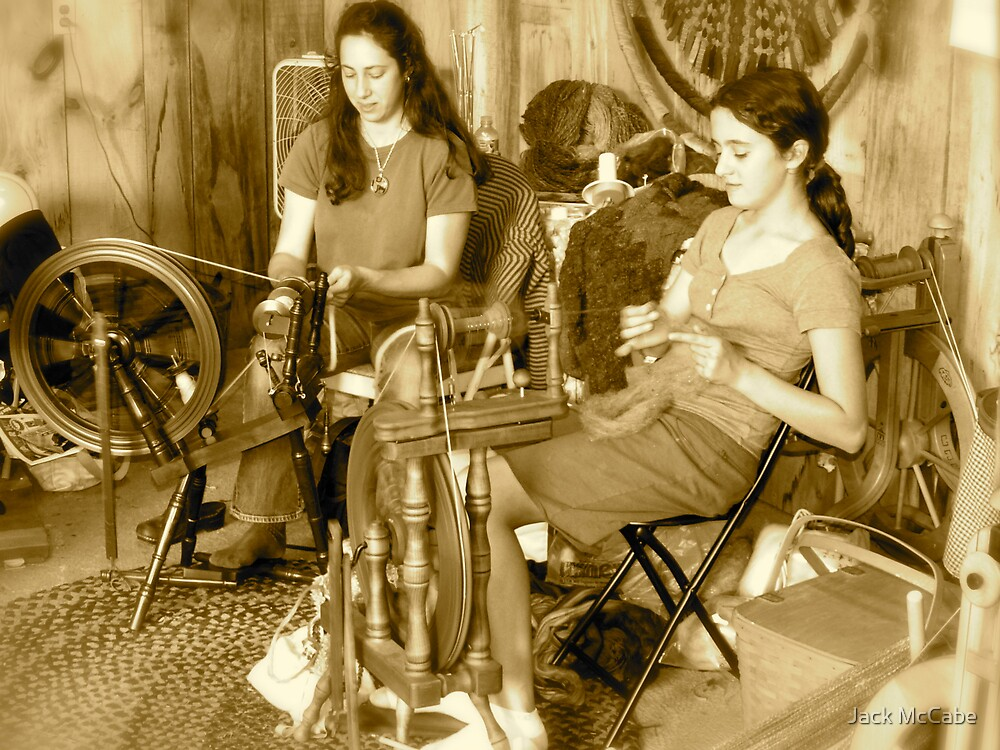 Spinning Yarn at the County Fair | Sepia Series by Jack McCabe