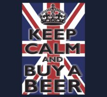 UNION JACK, FLAG, KEEP CALM & BUY A BEER, UK, ON BLACK T-Shirt