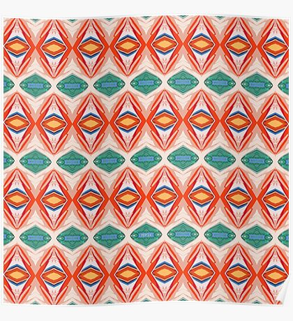 Orange And Green Pattern Poster