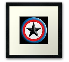 Bulls Eye Star, on Black, Right on Target, Roundel, Archery, Star, Badge, Buttton Framed Print