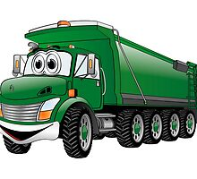 Green Dump Truck 10w Cartoon by Graphxpro