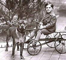 Boy on Cart with Pitbull by Tails of the Past