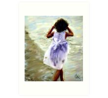 Girl in White Dress  Art Print