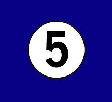5, Five, Number Five, Number 5, Racing, Five, Competition, on Navy Blue by TOM HILL - Designer
