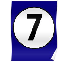 7, Seventh, Number Seven, Number 7, Racing, Seven, Competition, on Navy Blue Poster