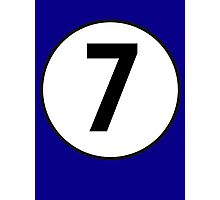 7, Seventh, Number Seven, Number 7, Racing, Seven, Competition, on Navy Blue Photographic Print