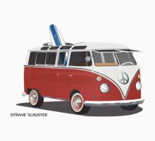 23 Window Split VW Bus Red with Surfboard Peace T-Shirt
