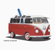 23 Window Split VW Bus Red with Surfboard Peace by Frank Schuster