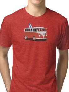 23 Window Split VW Bus Red with Surfboard Peace Tri-blend T-Shirt