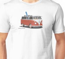 23 Window Split VW Bus Red with Surfboard Peace Unisex T-Shirt