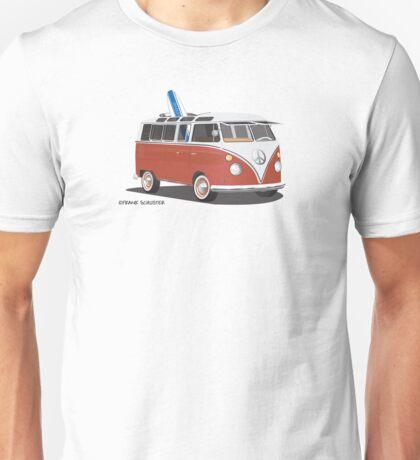 23 Window Split VW Bus Red with Surfboard Peace Unisex T-Shirt