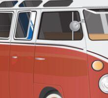 23 Window Split VW Bus Red with Surfboard Peace Sticker