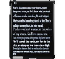 U2 lyrics black+blue iPad Case/Skin