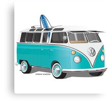 Split VW Bus Teal with Surfboard Canvas Print