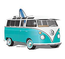 Split VW Bus Teal with Surfboard Photographic Print