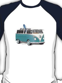 Split VW Bus Teal with Surfboard T-Shirt