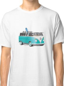 Split VW Bus Teal with Surfboard Classic T-Shirt
