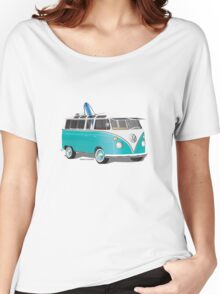 Split VW Bus Teal with Surfboard Women's Relaxed Fit T-Shirt