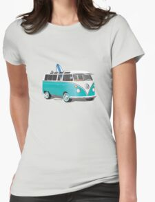 Split VW Bus Teal with Surfboard Womens Fitted T-Shirt