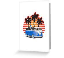 Hippie VW Split Window Bus w Surfboard & Palmes Greeting Card