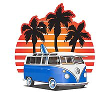 Hippie VW Split Window Bus w Surfboard & Palmes Photographic Print