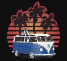 Hippie VW Split Window Bus w Surfboard & Palmes by Frank Schuster