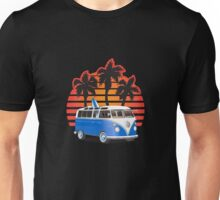 Hippie VW Split Window Bus w Surfboard & Palmes Unisex T-Shirt