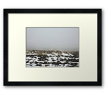 Snowy Winter Farm Land Dirt and Straw Landscape in Fog 3 - Earth's Surface without structural buildings, war, or blood by man - natural peaceful nature. Framed Print