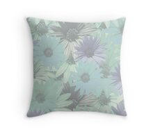 Colorful blue-toned daises Throw Pillow