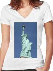 Statue of Liberty, New York Women's Fitted V-Neck T-Shirt