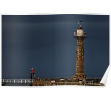 Pier Lighthouse and Beacon, Whitby Poster