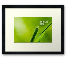 Green Grass And Sun - Keep the Earth green Framed Print