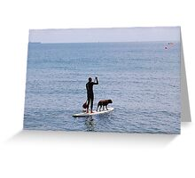 ONE MAN AND HIS DOG + SURFBOARD. Greeting Card