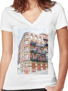 Old Brick Building Women's Fitted V-Neck T-Shirt