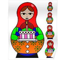 Birthday Russian Babushka Doll Poster