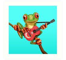 Tree Frog Playing Turkish Flag Guitar Art Print