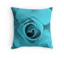 Blue Neon Rose Throw Pillow