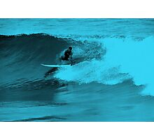Blue Neon Surfer Photographic Print