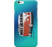 21 Window VW Bus Red White w blue backgr iPhone Case/Skin