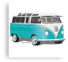 Split VW Bus Teal Canvas Print