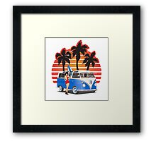 Hippie Split Window VW Bus Blue Palmes Girl Framed Print