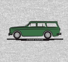 Volvo Amazon Station Wagon Kombi Green for White Shirts One Piece - Long Sleeve