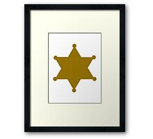 Golden sheriff star Framed Print