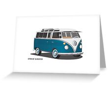 Hippie 21 Window VW Bus Tuerkis Greeting Card