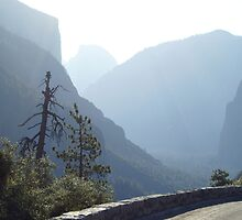 El Capitan and Half Dome on a smoggy day by photoclimber