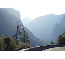 El Capitan and Half Dome on a smoggy day Photographic Print