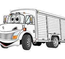 White Beverage Truck Cartoon by Graphxpro