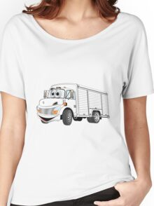 White Beverage Truck Cartoon Women's Relaxed Fit T-Shirt