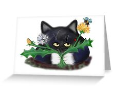 Dandelion Clump and Kitten Greeting Card